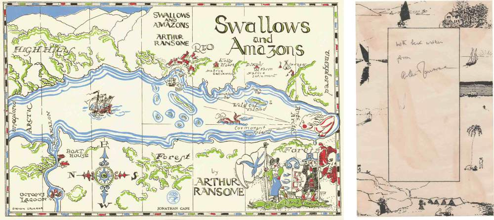 Arthur Ransome signed bookplate, Swallows and Amazons